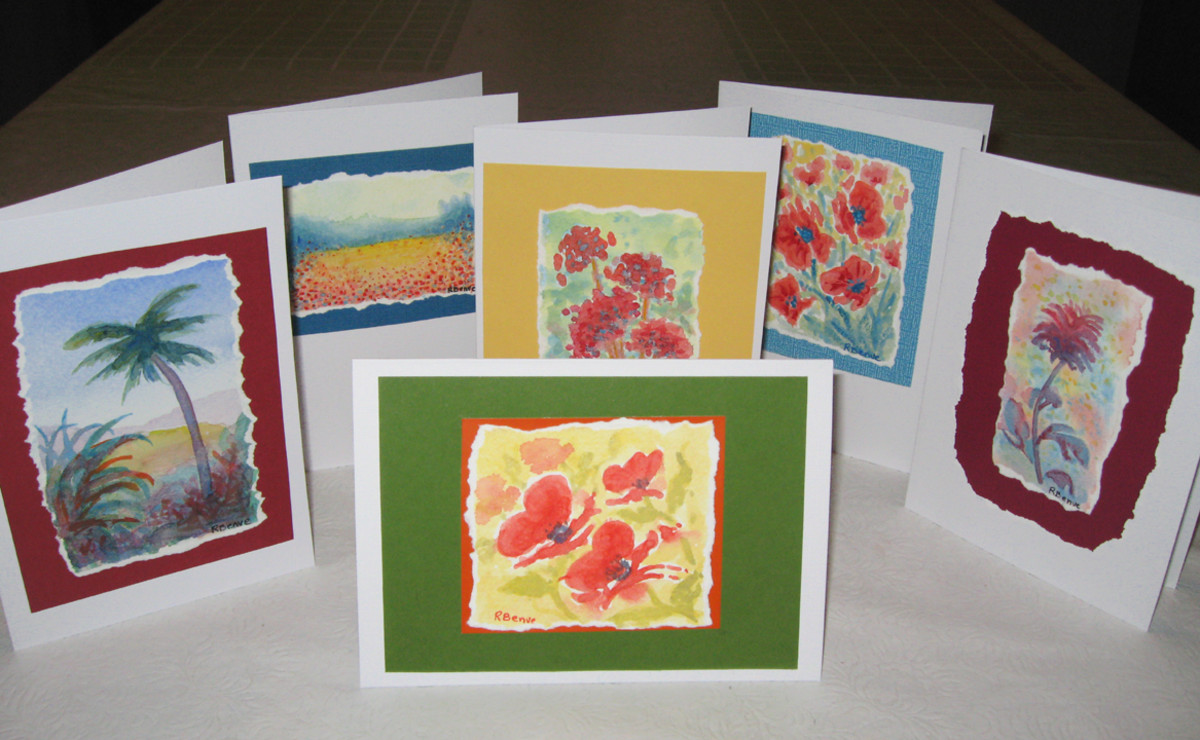 Here are some of my small painting greeting cards with background mats and interesting, organic edges.