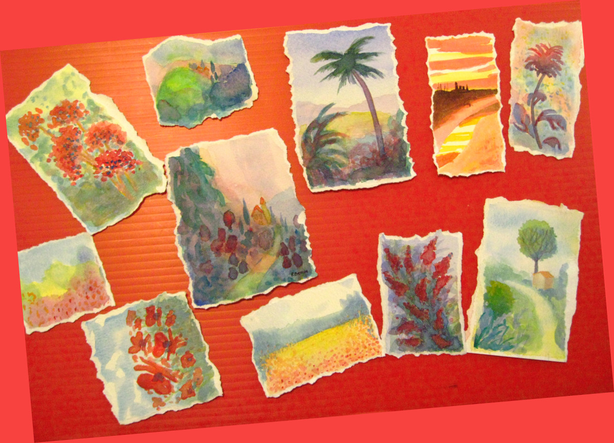 Small, original watercolor paintings like these can be used to make cute and artsy cards.