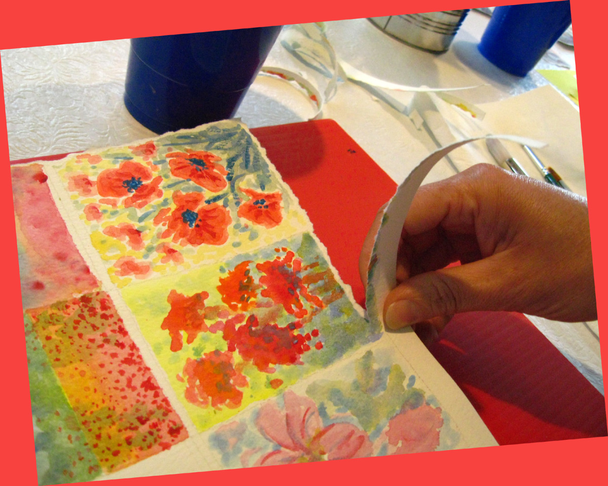 Tearing the watercolor paper with your hands instead of cutting with scissors adds extra texture and interest.