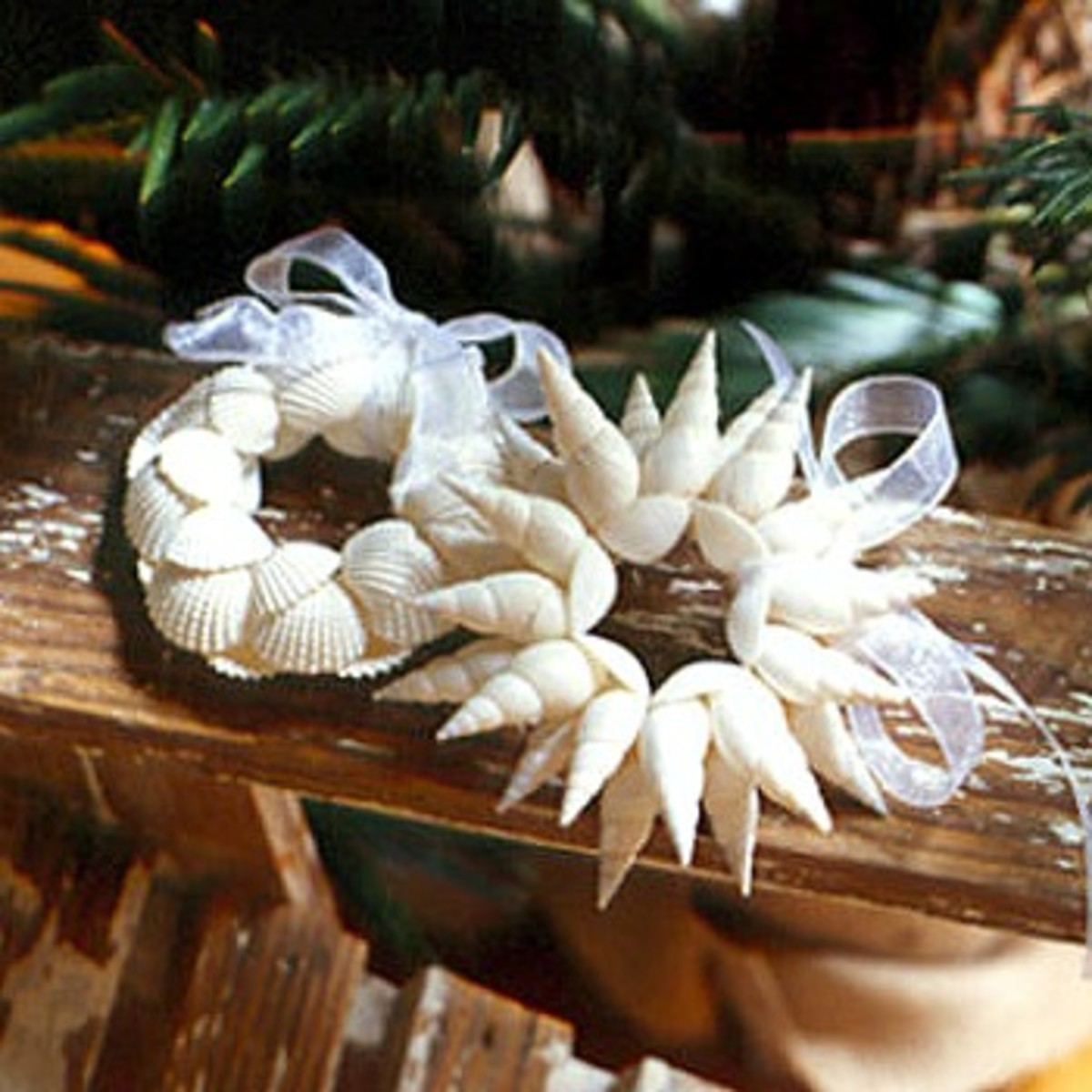 Glue shells on a wreath form, select a pretty ribbon for a hanger!