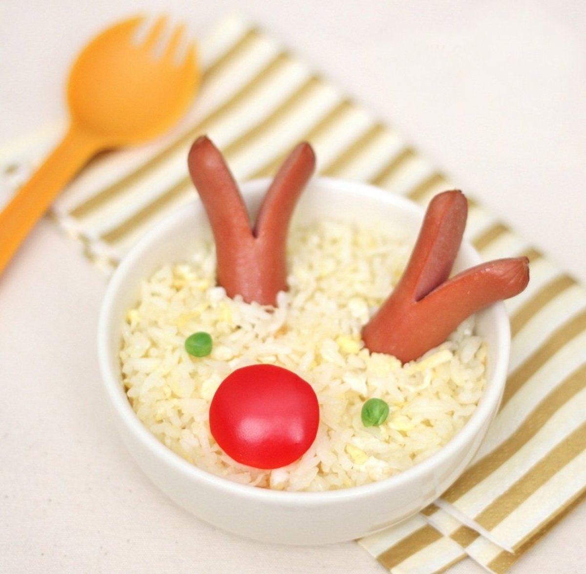 Fried rice gets a kid-approved Christmas makeover.