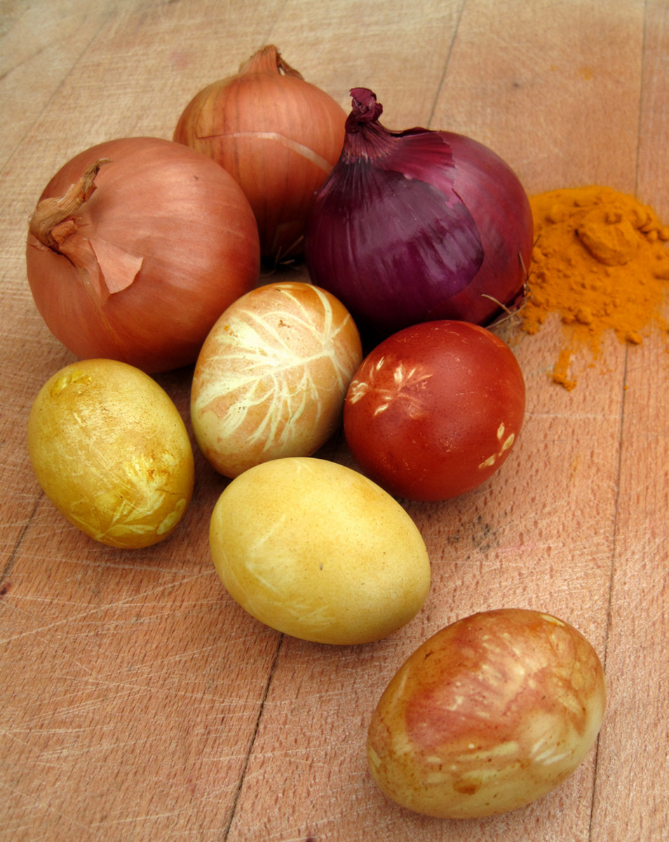 Onion peels are one way of coloring Easter eggs, and spices may also be used to produce excellent color results!