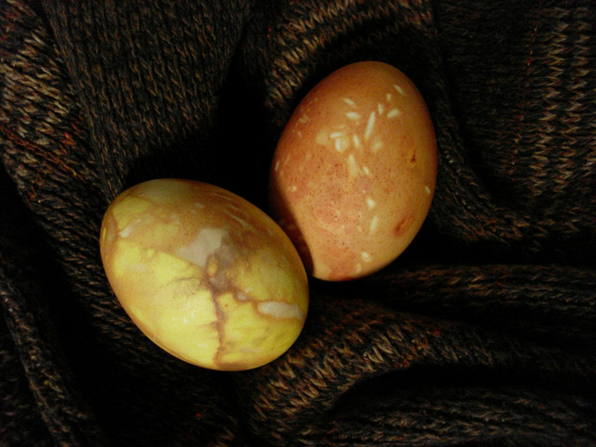 Eggs can be dyed using onion skins wrapped around the eggs before they are boiled.