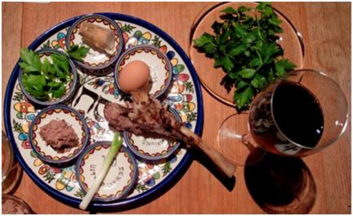 Passover Seder plate and ceremonial wine