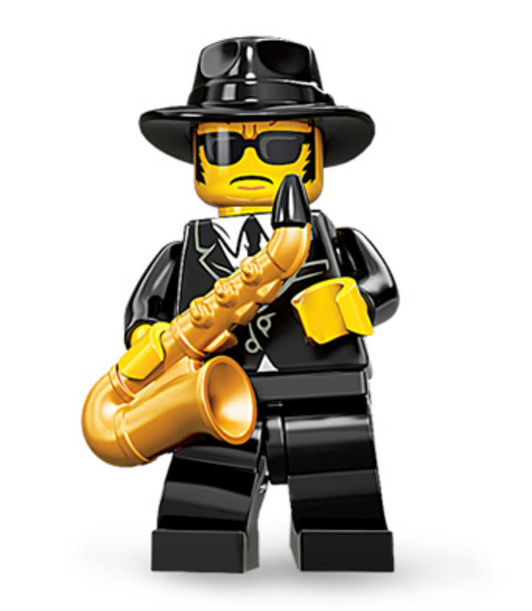 This LEGO Mini-figure looks a lot like a famous movie character...I think he's on a mission from God.