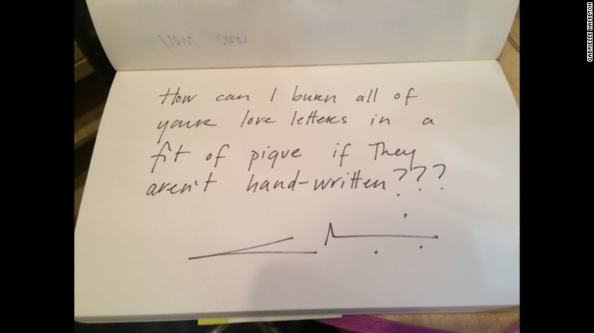 A handwritten note by Gabriele Hamilton