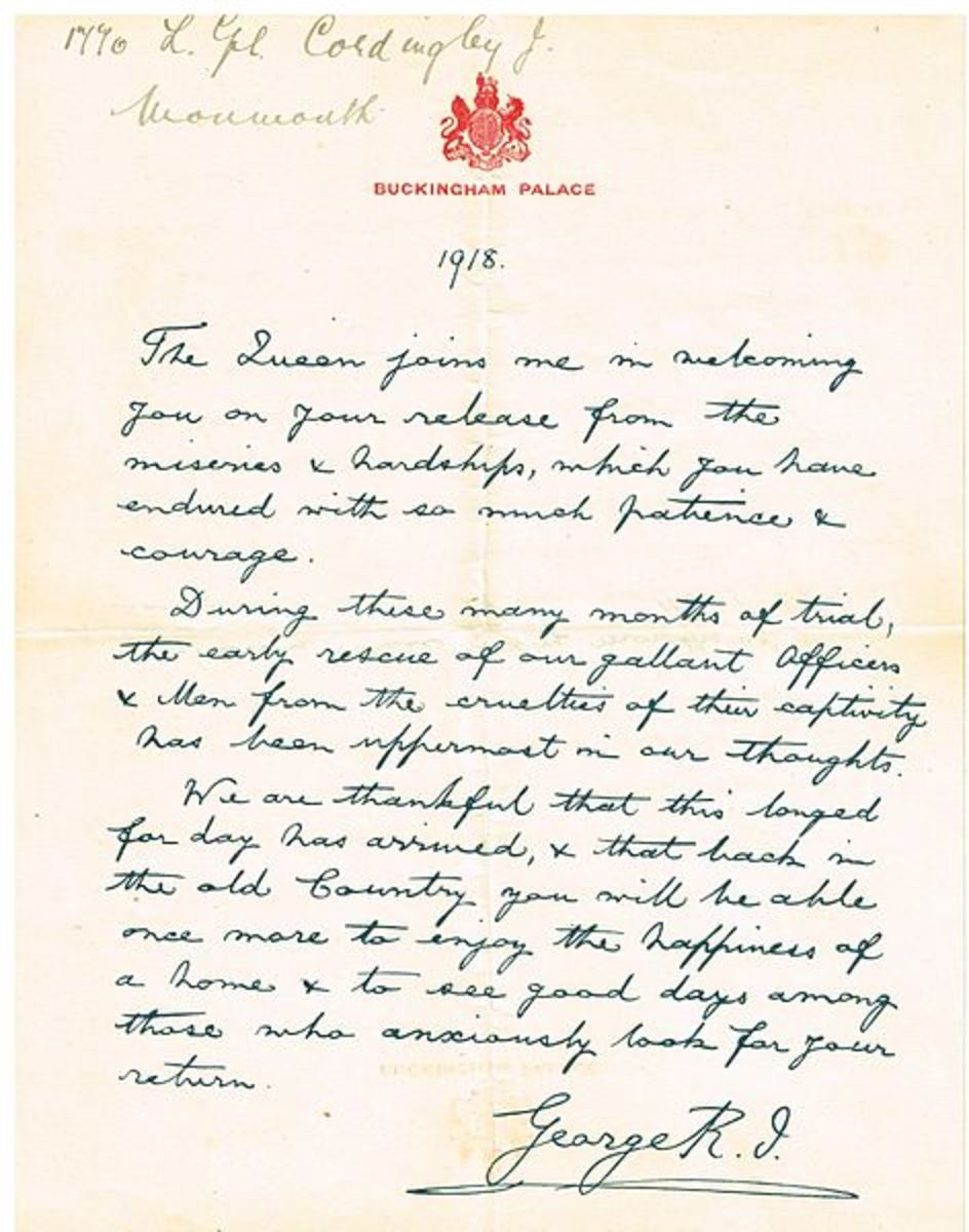 A handwritten letter of recognition for World War I POW Lance Corporal James Cordingley from King George V sent in 1918