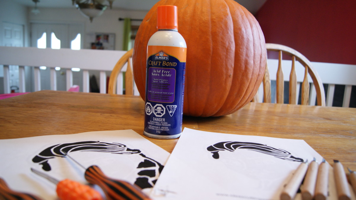Pumpkin, Stencils, Spray Adhesive, Thumbtack, Carving Saws, Carving Tools