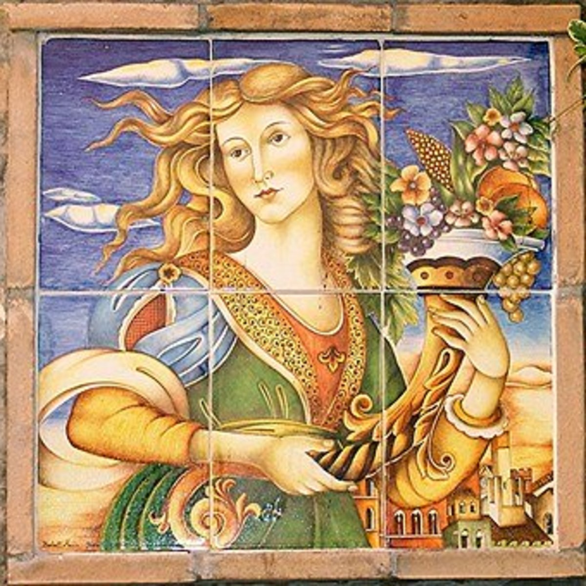 The cornucopia is associated with the goddess Fortuna, the goddess of fortune, either good or bad.  When pictured with a Horn of Plenty, she is the goddess of good fortune.