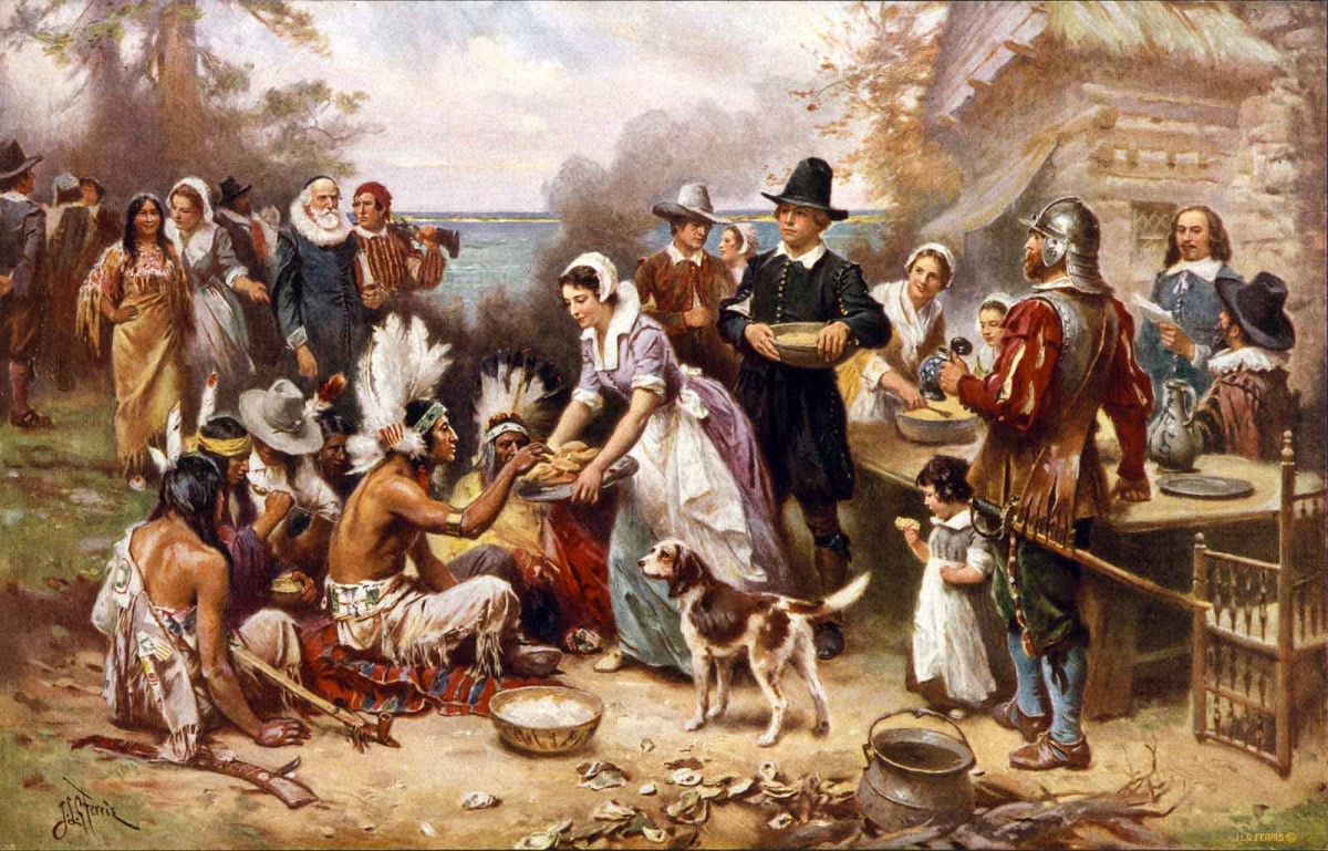 Some accounts of the first Thanksgiving celebration in Plymouth, MA describe a collaborative feast enjoyed by both European pilgrims and Indigenous Americans.