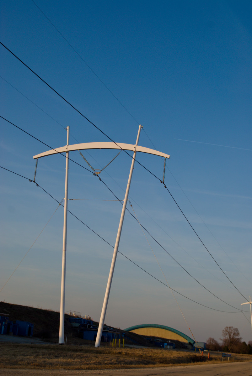 The pi power poles on the campus of Fermilab, America's premier particle physics laboratory.
