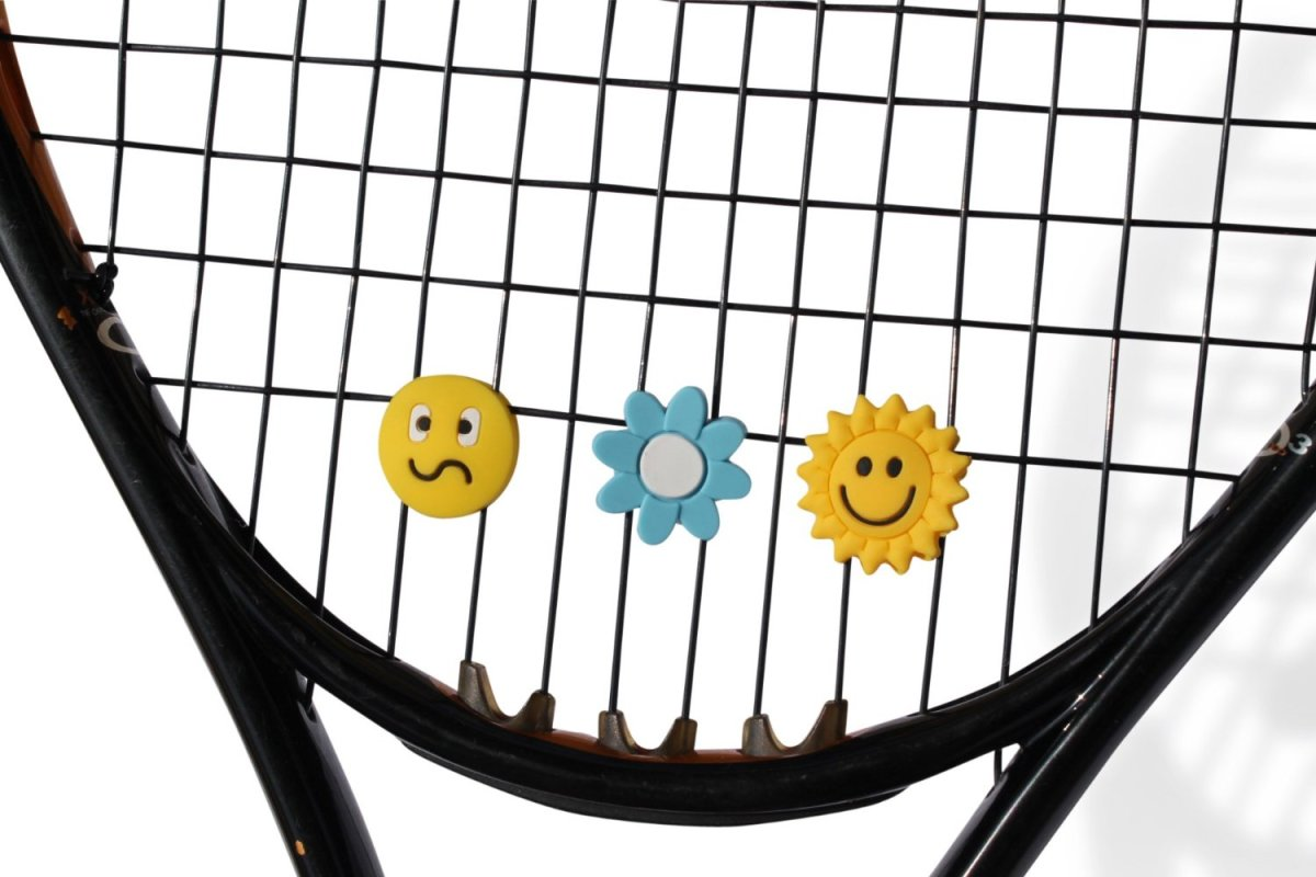 These novelty vibration dampeners make great gifts for children and adults. As well as providing fun and smiles, they dull the vibration effects that can cause tennis elbow.  There are six in each pack, providing a range of sizes, shapes, and designs