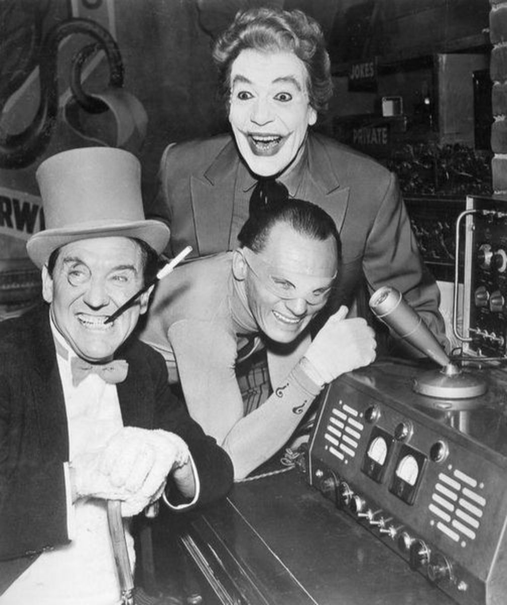Left to right: The Penguin, Burgess Meredith; The Riddler, Frank Gorshin; and The Joker. Cesar Romero