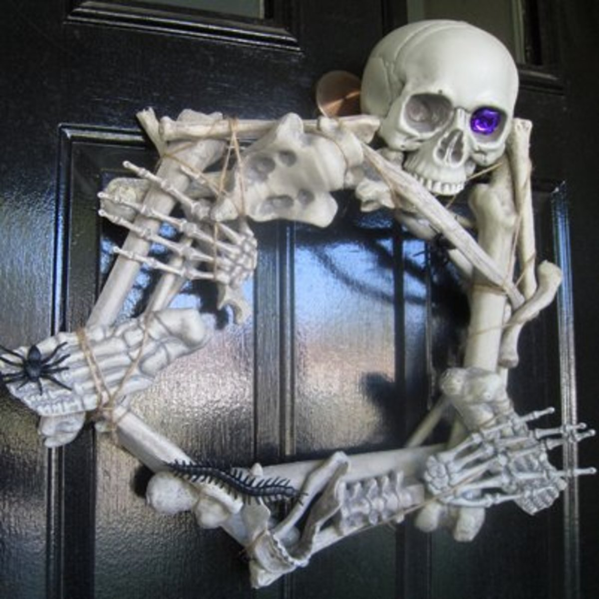 A skeletal wreath can be eye-catching.