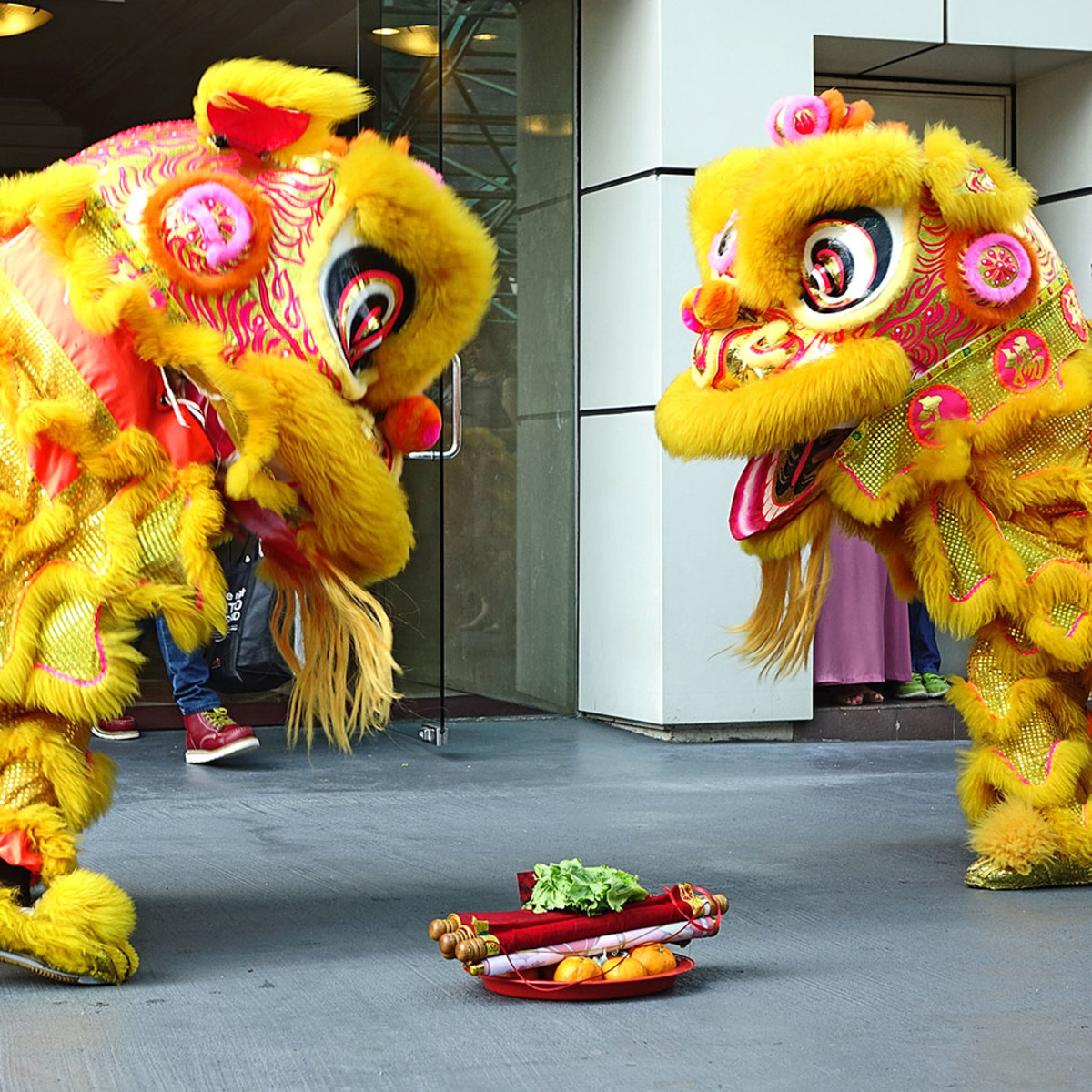 Festive Chinese lion dance during the New Year.