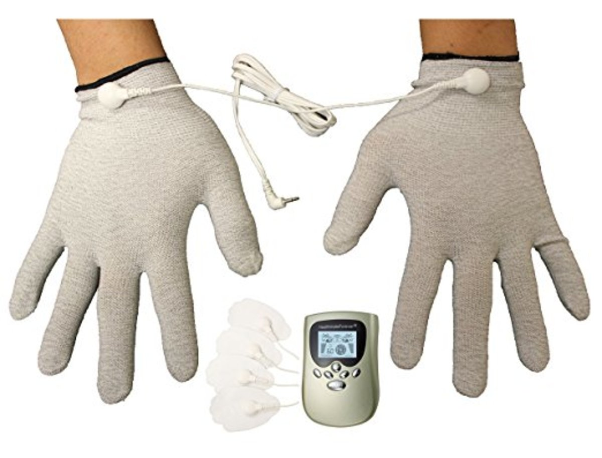 Pain-relief massage gloves.