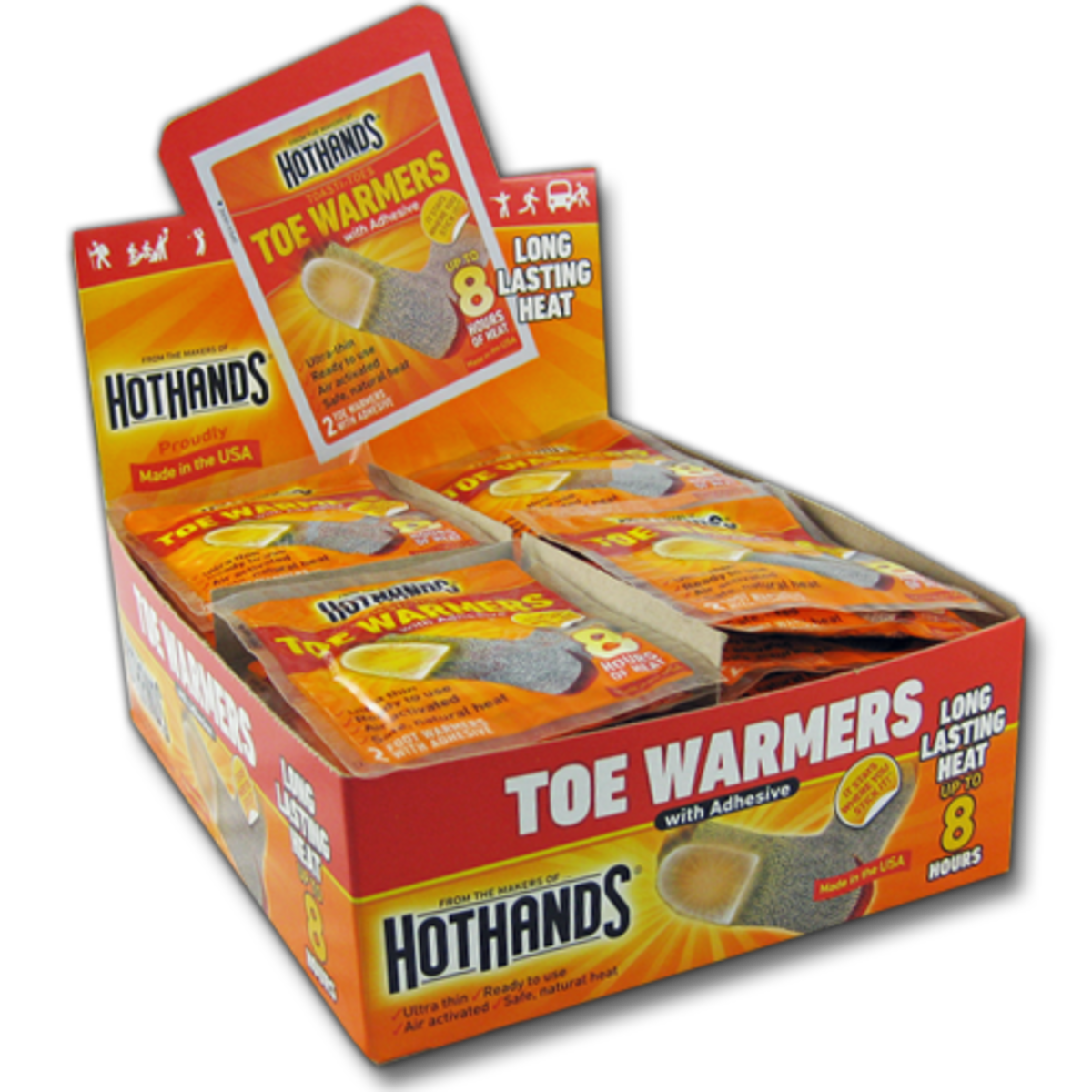 The Hot Hands brand makes both hand and toe warmers.