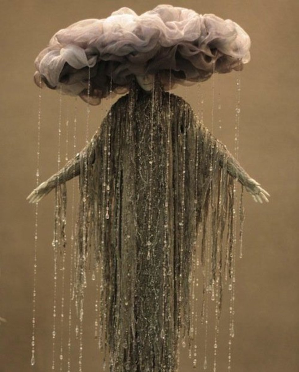 Tulle and strings of beads make up this gorgeous homemade raincloud costume idea.