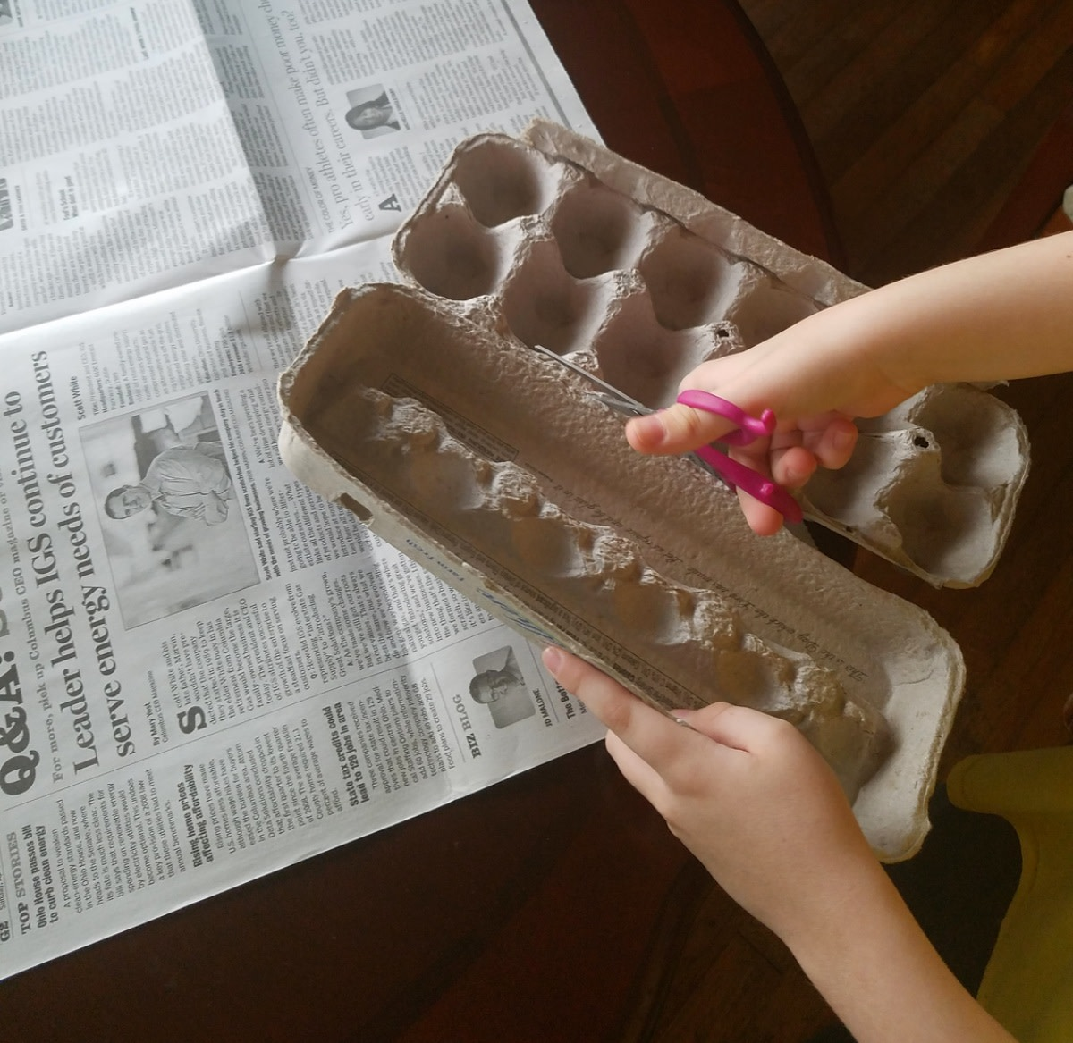 Cut lid off of egg carton and set aside.