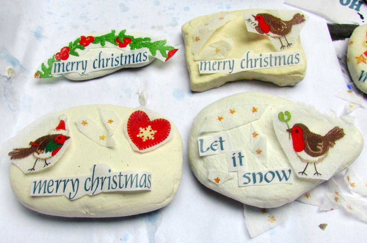 In-process Christmas decoupage rocks