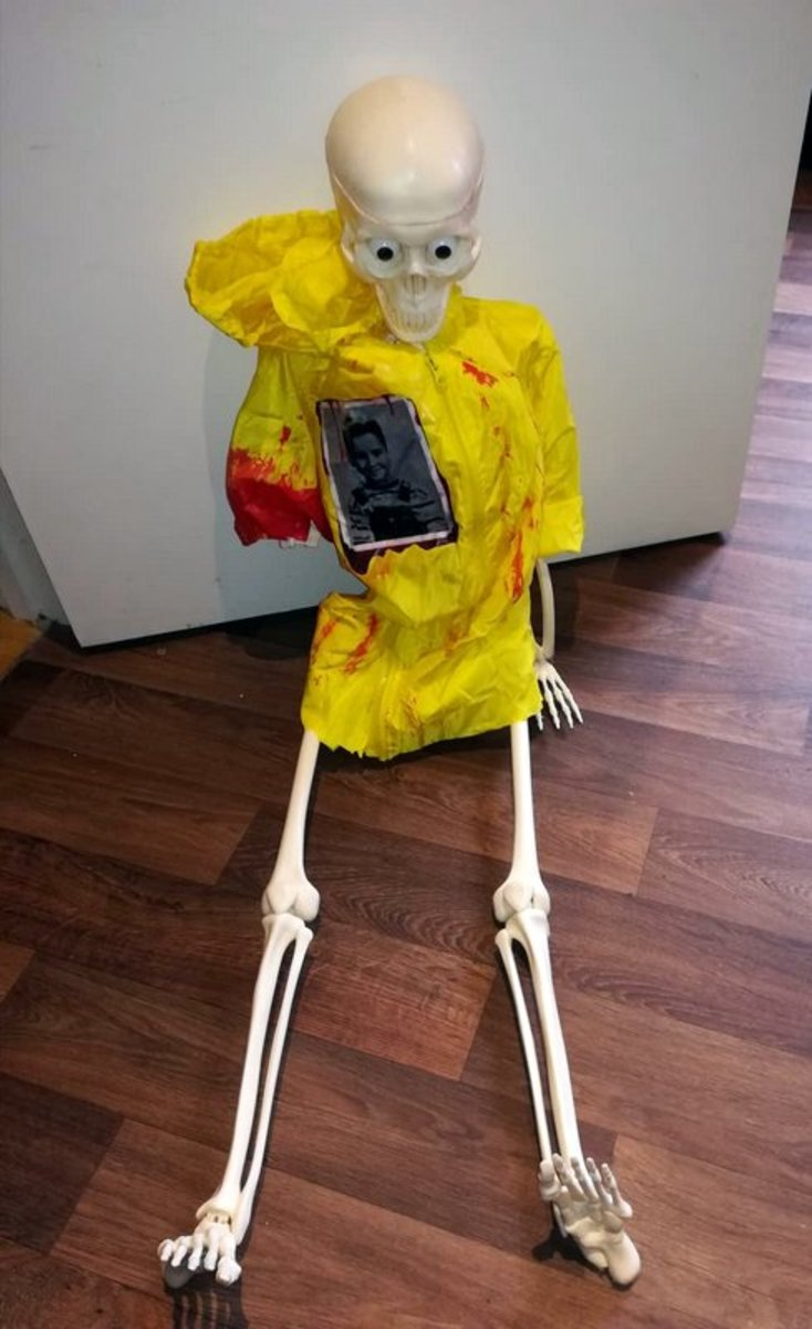 """This is my DIY Georgie skeleton decoration based on the character in the Stephen King movie, """"IT."""""""
