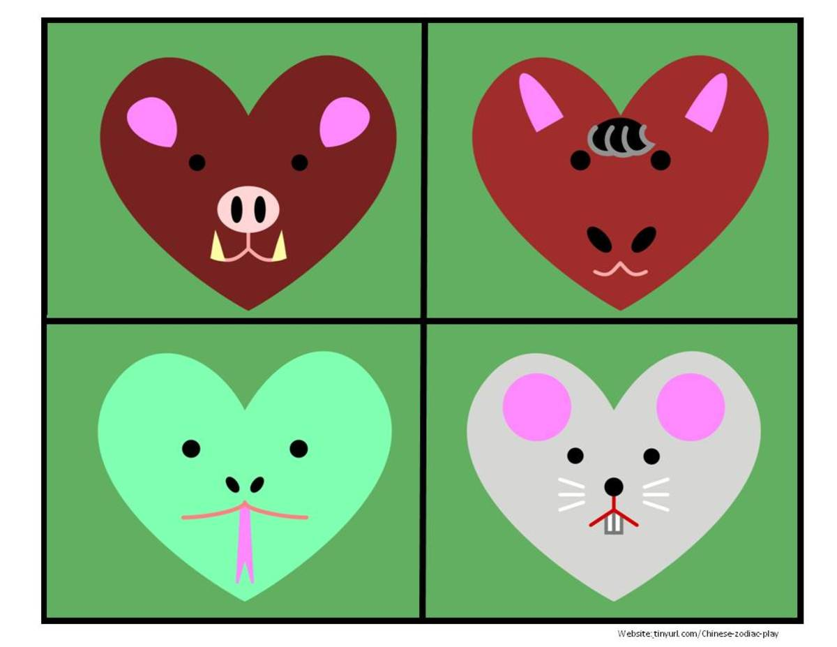 Colored Heart Animals Sheet 3:  Boar, Horse, Snake, Rat   See  landscape link below. (Don't forget to print out the cat, who appears further down.)