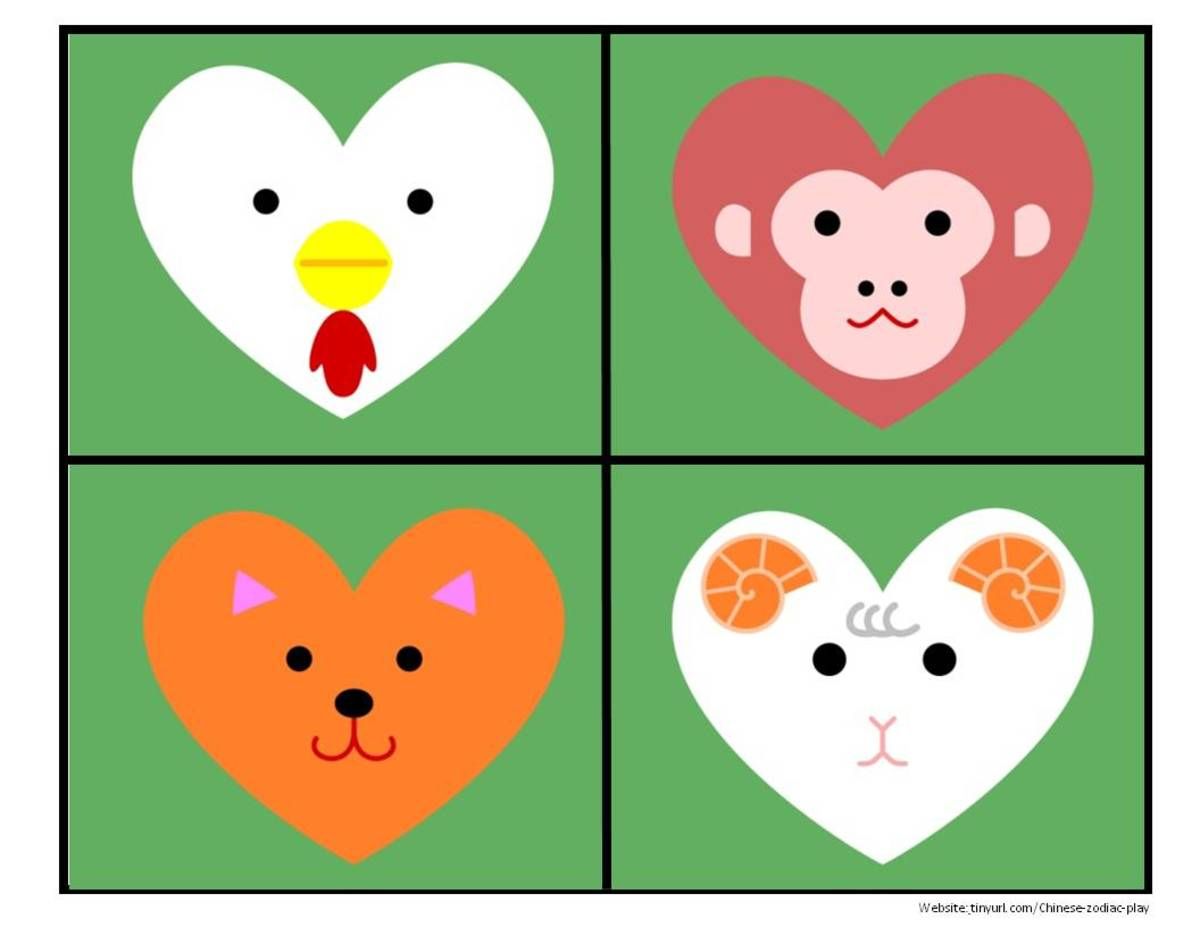 Colored Heart Animals Sheet 1:  Rooster, Monkey, Dog, Sheep  See landscape link below.