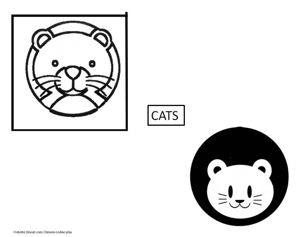 Cats to accompny the previous two sets: Animals With the Chinese Character and for Zodiac Animals to Color See landscape link below.