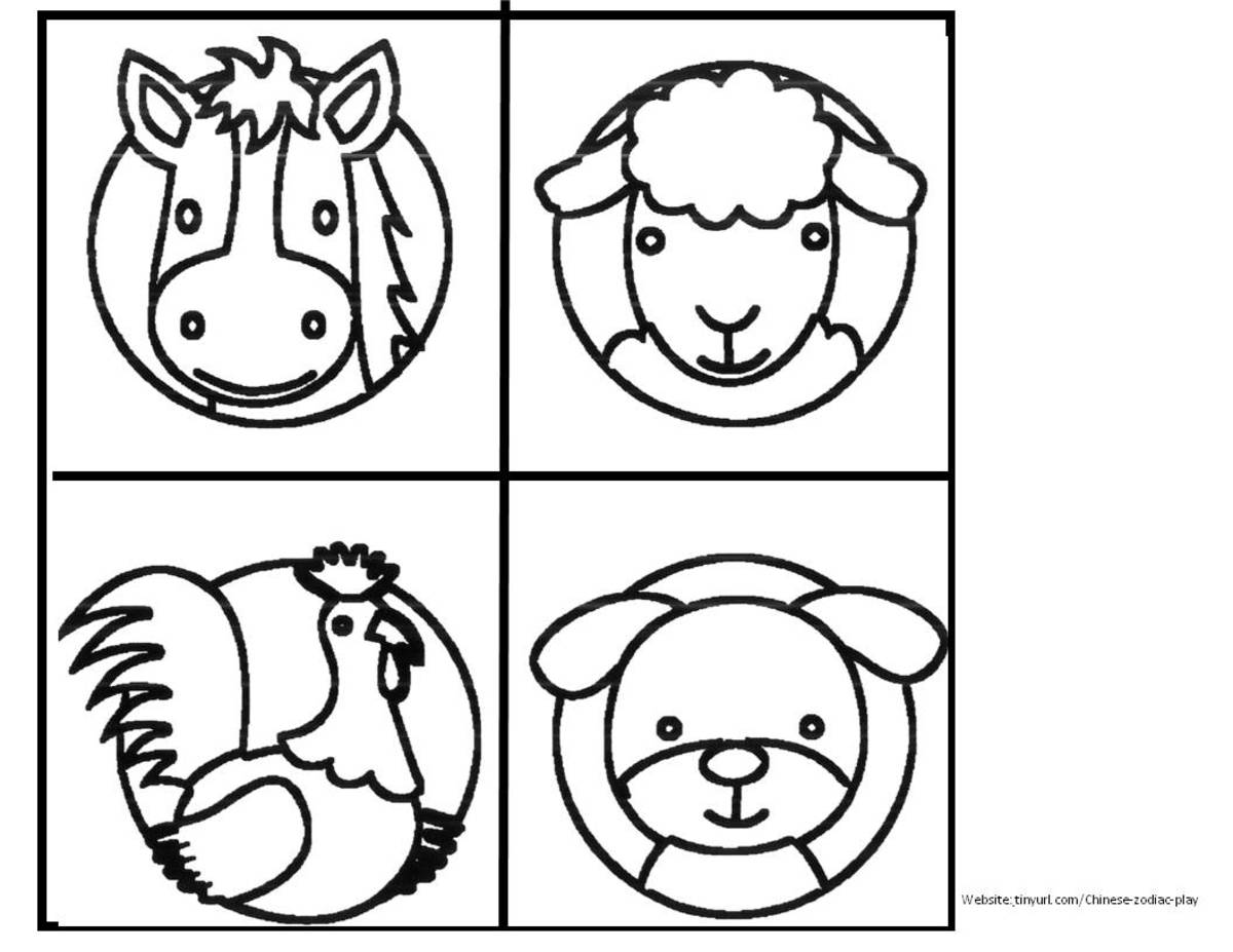 Zodiac Animals to Color Sheet 2 See landscape link below.