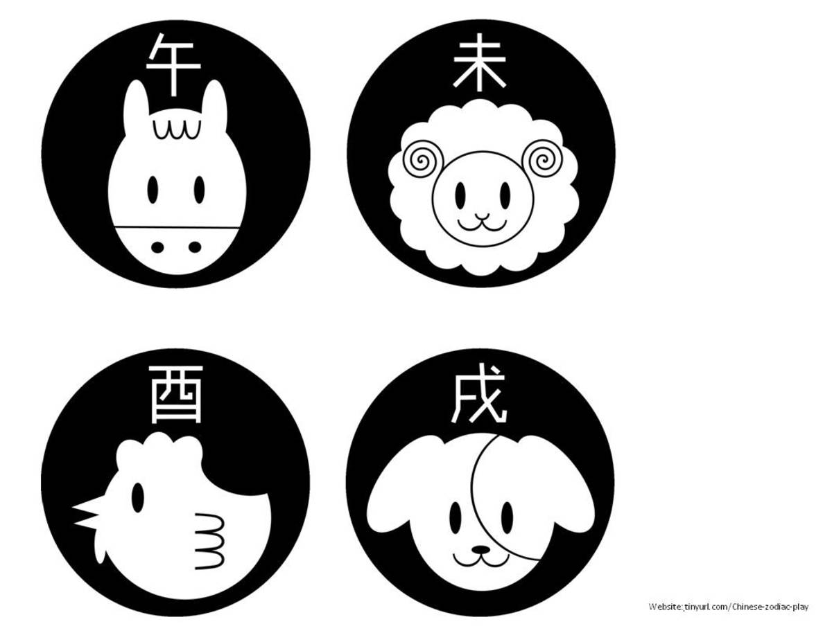 Animals With the Chinese Character  Sheet 2 See landscape link below.