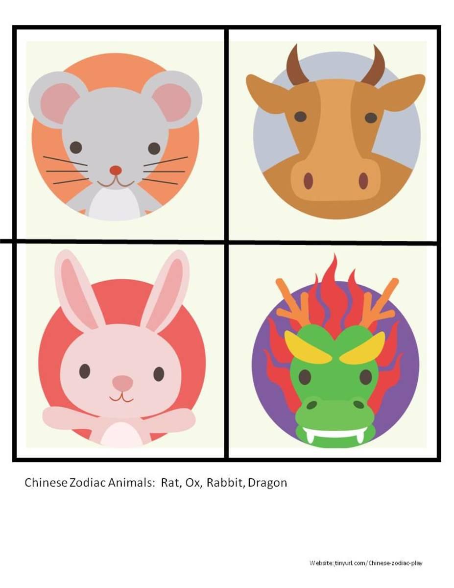 Color Zodiac Animals Sheet 1:  Rat, Ox, Rabbit, Dragon  See portrait link below.