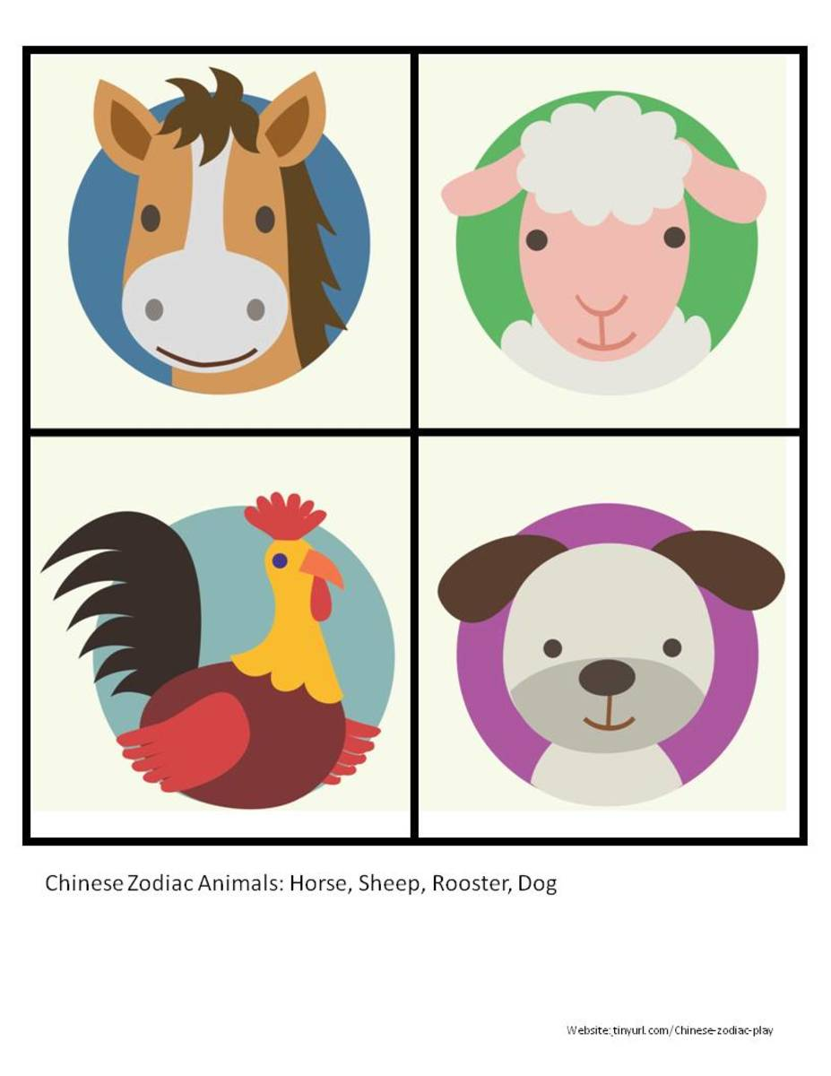 Color Zodiac Animals Sheet 2: Horse, Sheep, Rooster, Dog  See portrait link below.