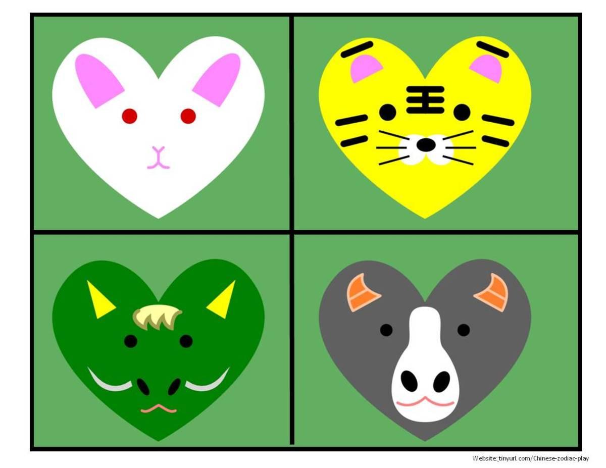 Colored Heart Animals Sheet 2:  Rabbit, Tiger, Dragon, Ox   See landscape link below.