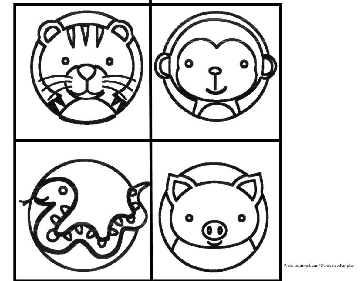 Zodiac Animals to Color  Sheet 3  See landscape link below. (Don't forget to print out the cat, who appears further down.)