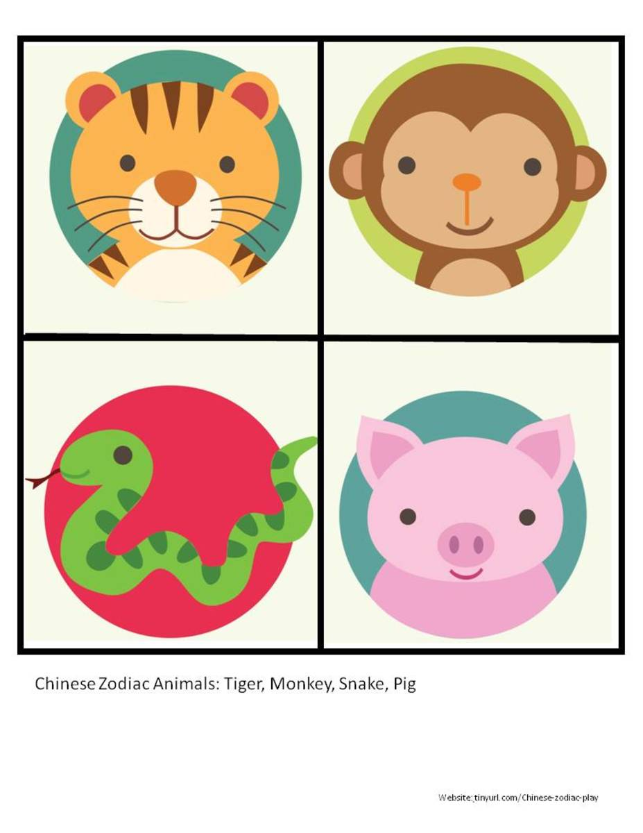 Color Zodiac Animals Sheet 3 Tiger Monkey Snake Pig See Portrait Link