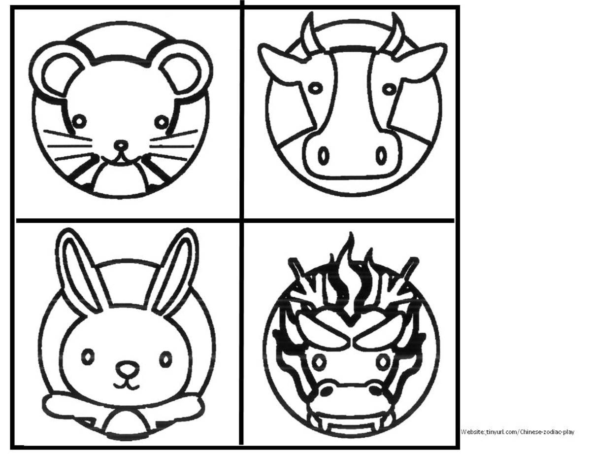 Zodiac Animals to Color Sheet 1. See landscape link below.