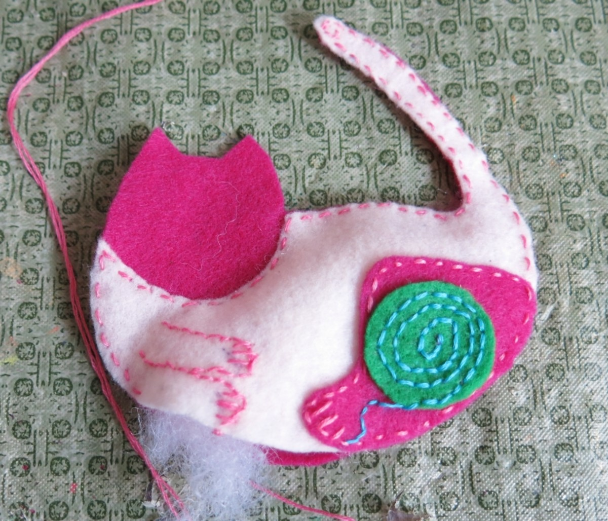 Sewing Your Cat Christmas Ornament Together