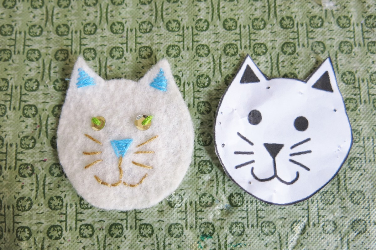 Adding details to the cat's face for Christmas ornament