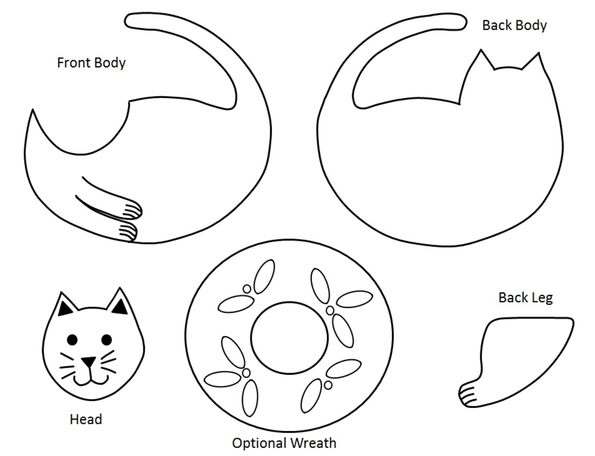 Templates for Making a Cute Cat with Wreath Christmas Ornament