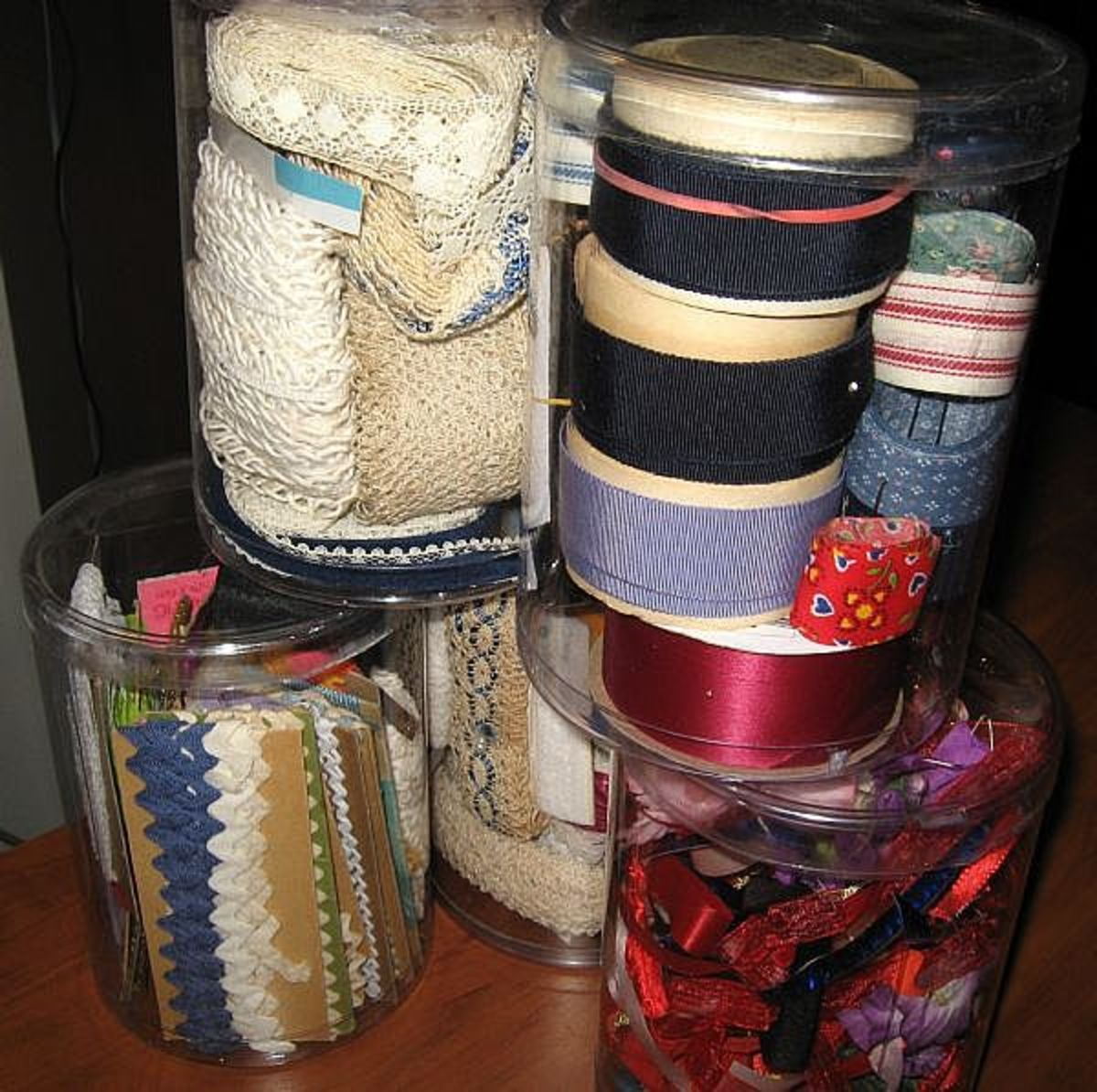 Usually I pay a quarter or maybe a little more if it's a large roll of ribbon. Gifts decorated with lace really look special. Often, I find vintage ribbon that's not the flimsy kind in the stores, but real woven ribbon.