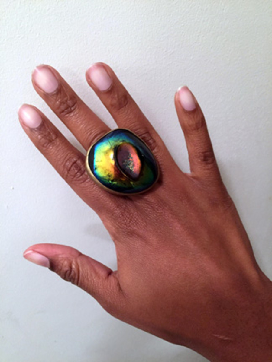 An Unusual Gift Item: Large druzy-agate ring purchased at a closing down sale.