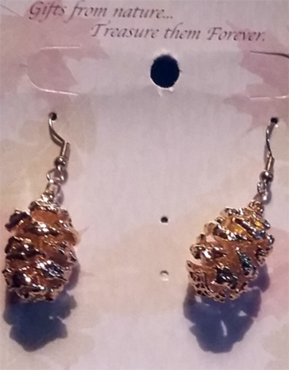 Earring From Nature: Natural Pine Cones coated in 14K Gold.