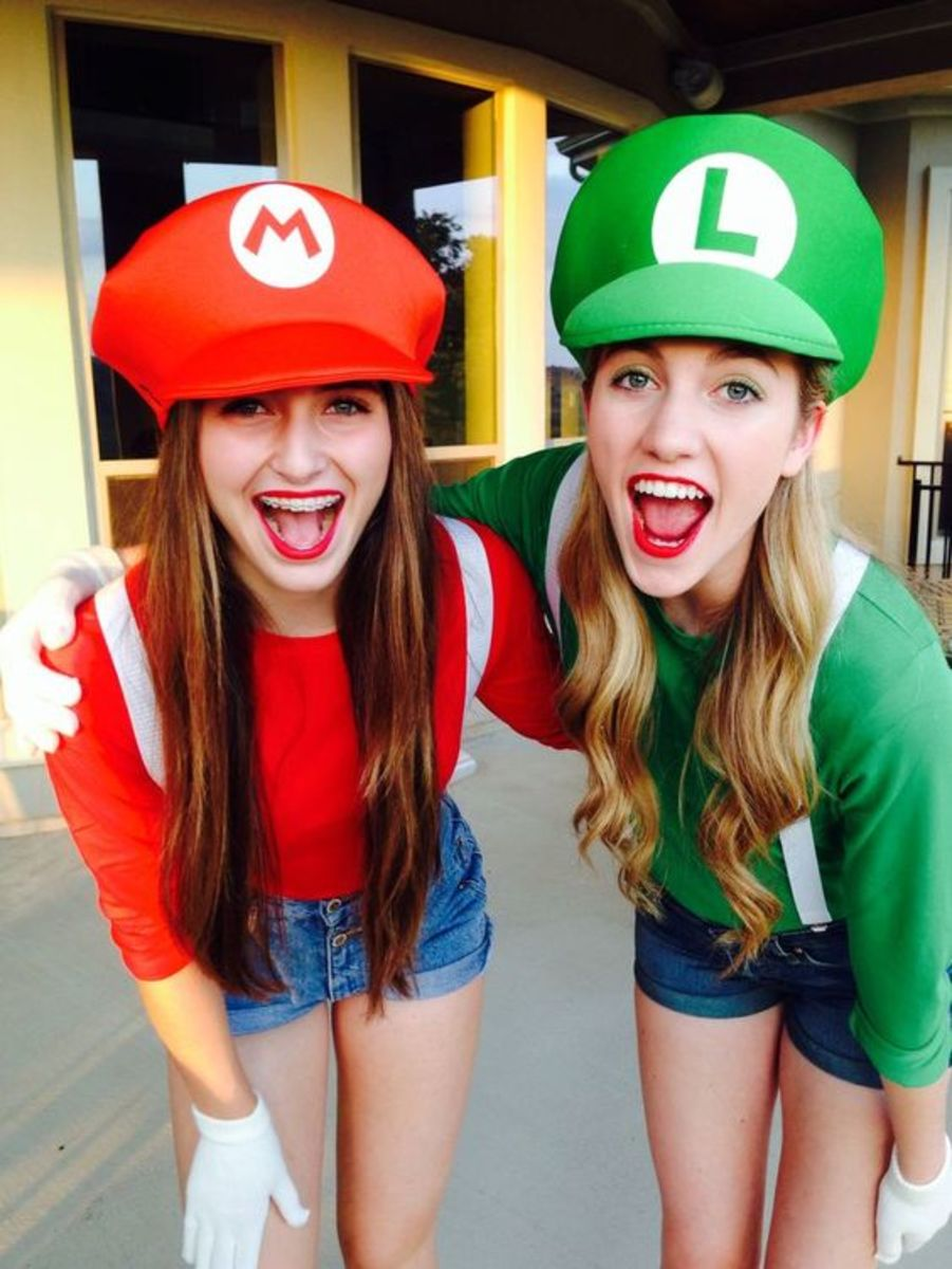 Super Mario Brothers have been around since 1985 and are still a huge hit in the video-game world.  Simply find red and green long-sleeved shirts with white suspenders and create your own hats to match and you have your couple costume!