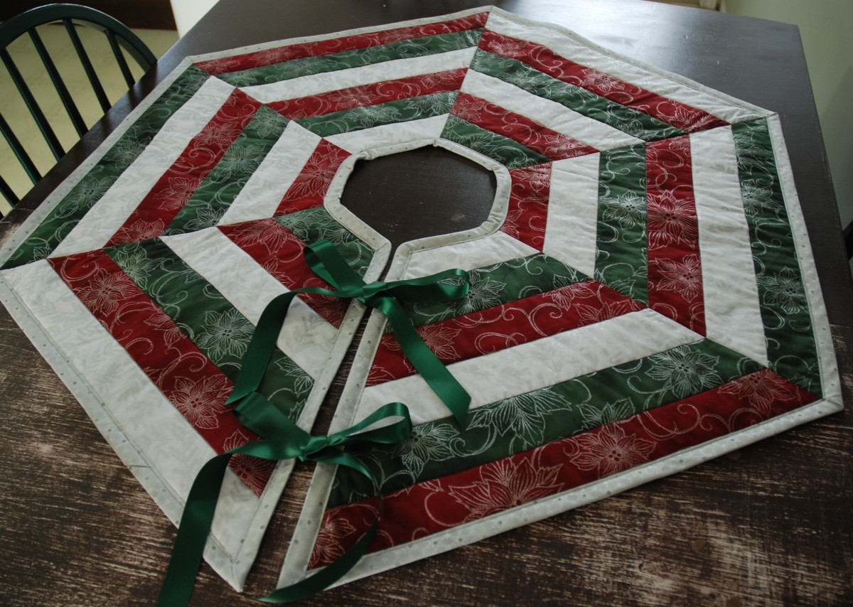 i later realized that fat quarters werent necessarily the best for this project but i wasnt going to let that stop me - Quilted Christmas Tree Skirt Pattern