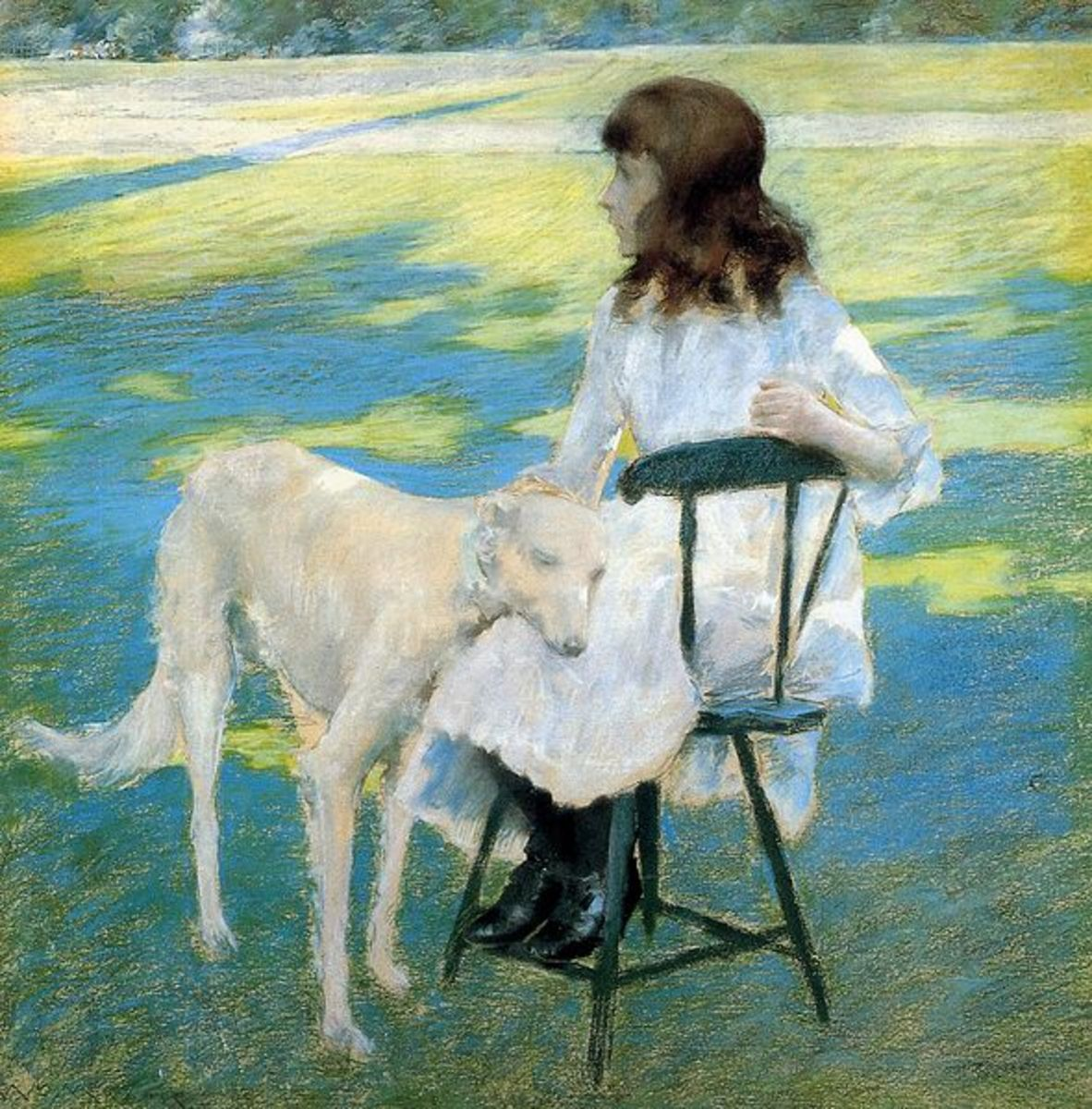 Good Friends.  A girl and her dog.  A precious piece of art.