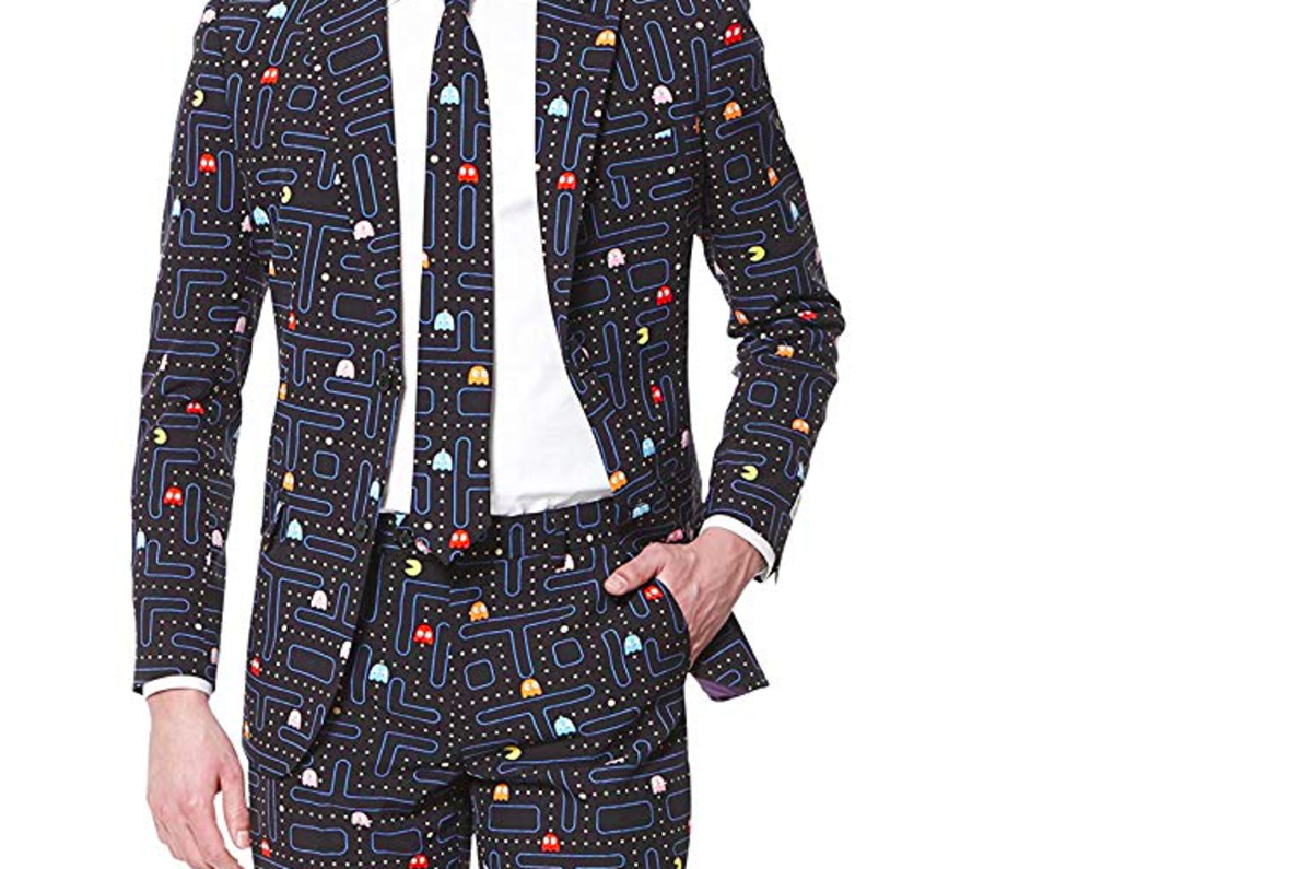 You nerd guy will look great in this snazzy, old-school Pac Man suit!
