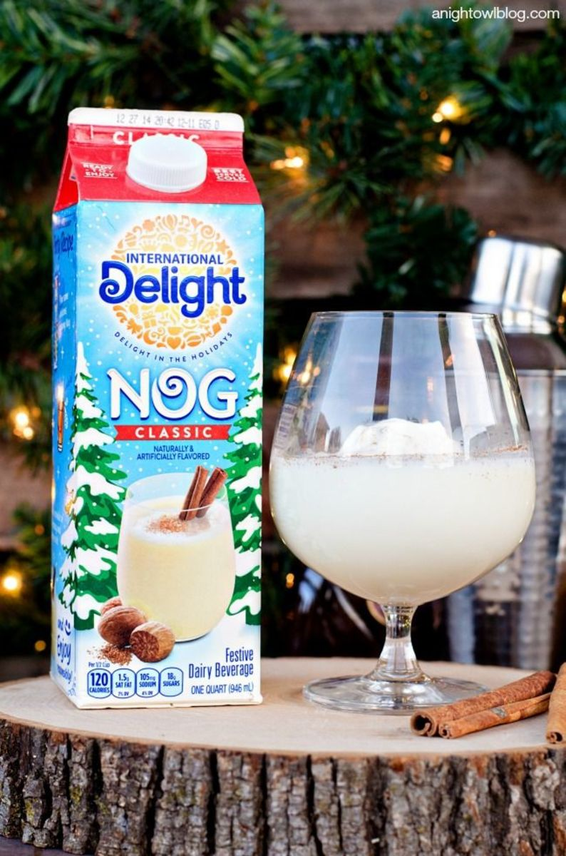 Eggnog is typically made from milk, cream, sugar, and eggs.
