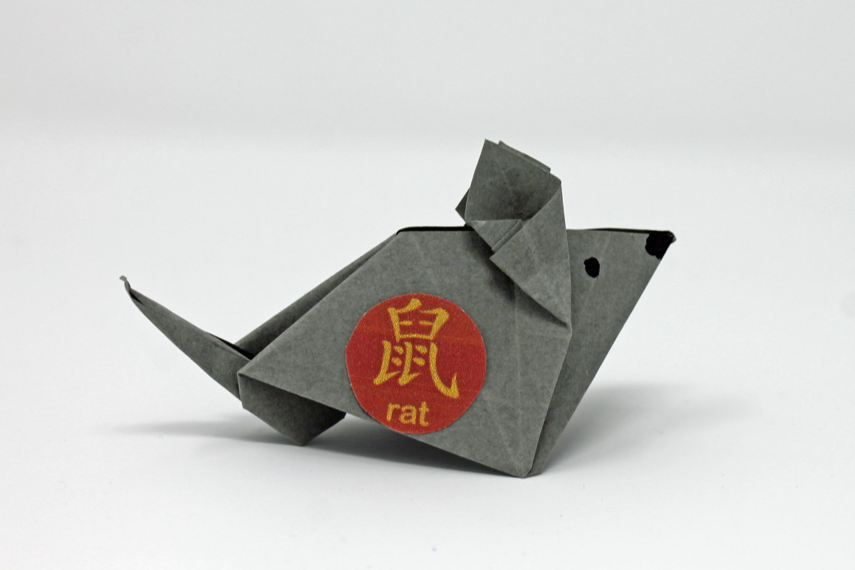 "A rat made with paper folding—the red circle with the ""rat"" character is available on the ""Printable Templates, Batch 1"" link earlier in this article."
