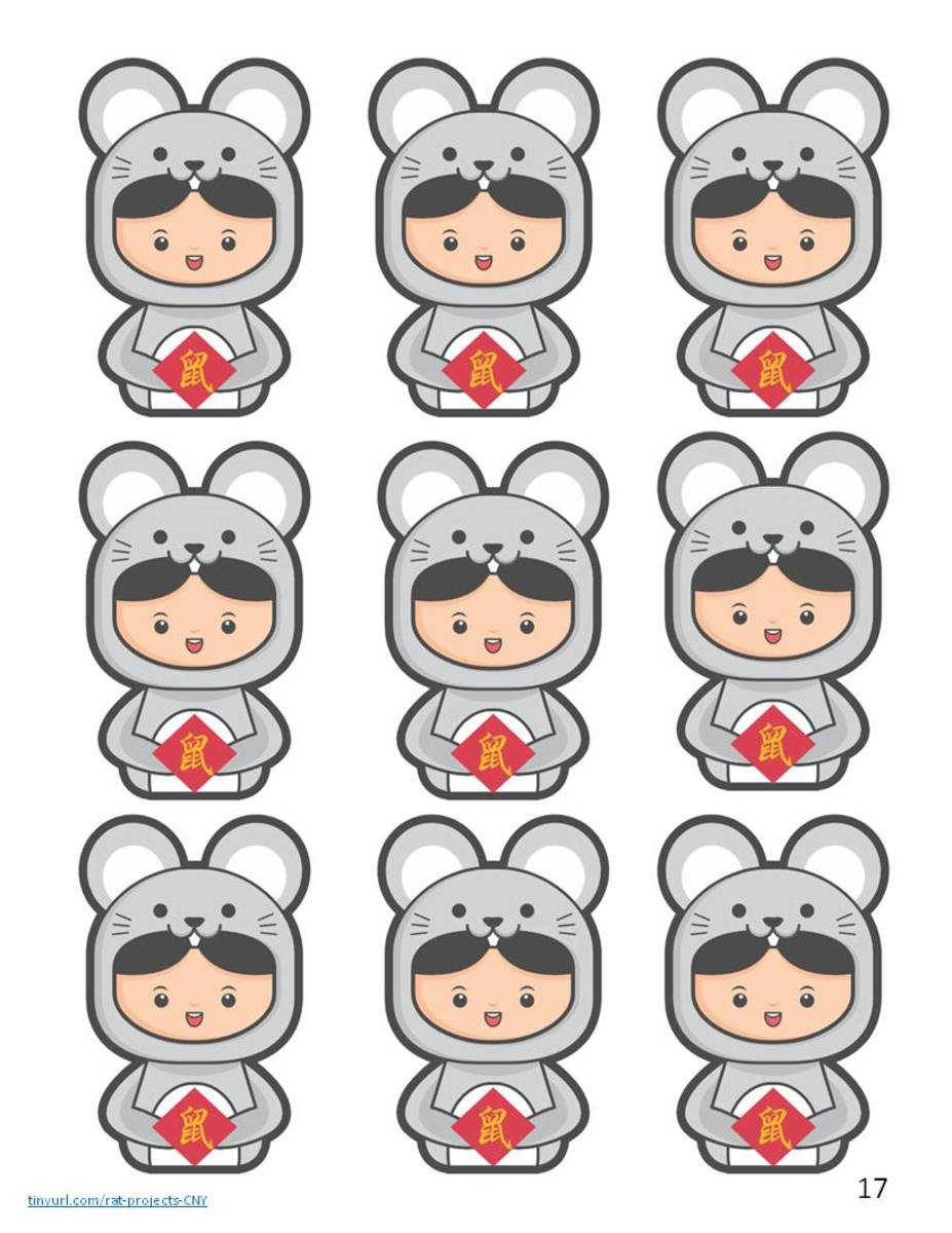 Child in rat costume motifs—use to decorate cards or bookmarks.