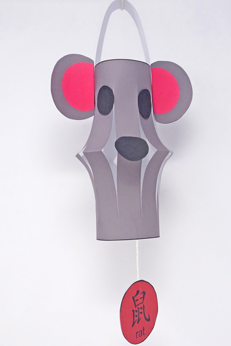 The template for this craft has two pages: one for the lantern and one for the details you attach to make the rat face.